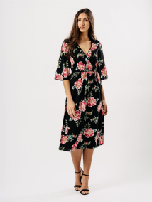 BLACK PINK FLORAL WRAP CHEST MIDI DRESS SIZES UK 8, 10, 12, 14